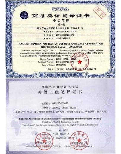商务翻译资格证书